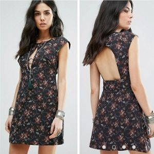 FREE PEOPLE SAY YES FLORAL MINI DRESS SIZE 8